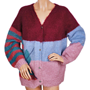 Vintage Hand Knit Mohair Sweater Cardigan Style 1960s Size L