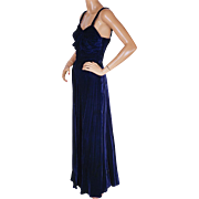 Vintage 1940s Evening Gown Blue Velvet Dress by Blanes of London Size S