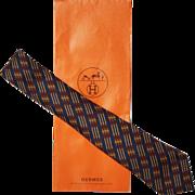 Vintage Hermes Tie Silk Twill 695 OA Belt Pattern Mens Necktie Made in France
