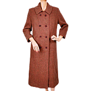Vintage Harris Tweed Houndstooth Coat 1960s Ladies Size Medium
