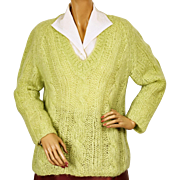 Vintage Mohair Wool Sweater Lime Green Pullover Style 1960s Made in Italy Size L