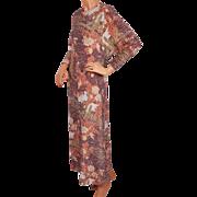 Vintage Lurex Dress w Egret Heron Bird Print 1970s Size M 12