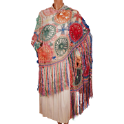 Vintage Shawl 1930s Fringed Knit Wool and Knotted Silk Multicoloured