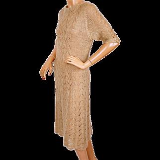 Vintage Mohair Wool Knit Sweater Dress Tan w Gold Fleck 1960s Size M