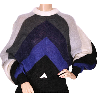 Vintage 80s Mohair Wool Sweater Blouson Pullover Style Made in Italy Size M