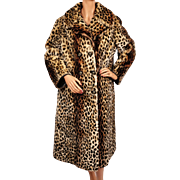 Vintage 70s Leopard Print Stencilled Mouton Fur Coat Sheared Lamb Ladies Size M