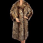 Vintage Leopard Print Stencilled Mouton Fur Coat Sheared Lamb Ladies Size M
