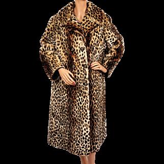 Vintage 70s Leopard Print Stencilled Mouton Fur Coat Sheared Lamb Ladies Size M