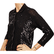 Vintage Black Sequin Sweater Sequinned Knit Wool Ladies Size Medium