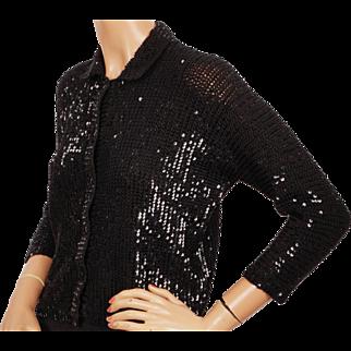 Vintage Black Sequin Sweater Sequinned Knit Wool Ladies Size Medium