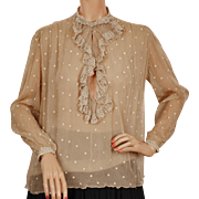 Vintage 1930s Silk Chiffon Blouse w Embroidered Polka Dots & Lace Maryvonne Paris M