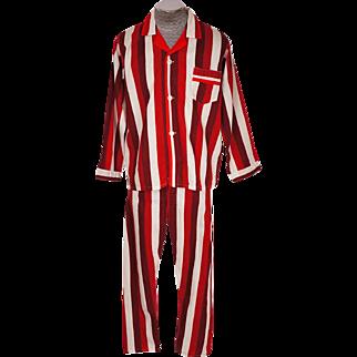 Vintage 1960s Mens Striped Pajamas Unused Cotton Pyjamas Size Large