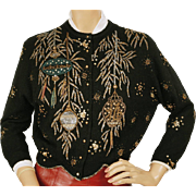 Vintage 1960s Beaded Sweater with Lantern Motif