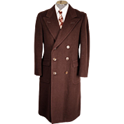 Vintage 1930s Mens Overcoat Brown Wool Coat by Fashion Hall Clothes Size 40 / 42 R