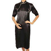 Vintage 1950s Chinese Black Silk Cheongsam Dress Authentic Hand Sewn Custom Made
