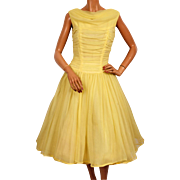 Vintage 50s Yellow Nylon Party Prom Dress Size Medium