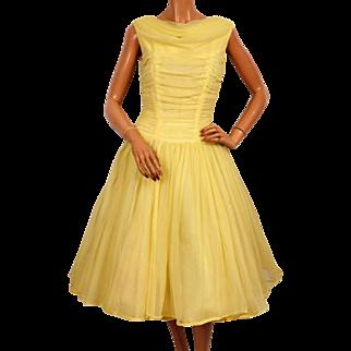 Vintage 50s Yellow Nylon Party Prom Dress Size Medium
