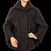 Vintage Black Curly Lamb Fur Jacket 1950s Swing Style Ladies M / L