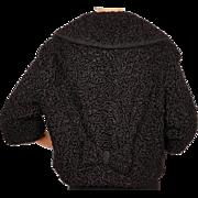 Vintage Black Curly Lamb Fur Jacket 1950s Cute Style w Bows Ladies M