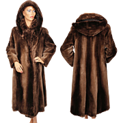 Vintage Sheared Beaver Fur Coat wth Hood Ladies Size Medium