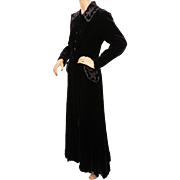 Vintage 1930s Black Velvet Coat with Beaded Collar & Pockets Ladies Size M