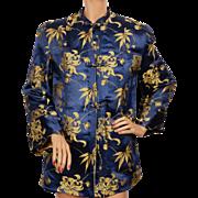 Vintage 1940s Chinese Silk Brocade Jacket w Floral Pattern Ladies Size S