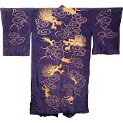 Antique Japanese Murasaki Violet Silk Kimono w Gold Dragon Embroidery Robe Large