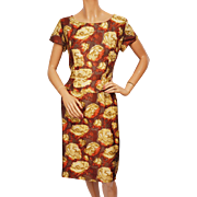 Vintage 1960s Printed Silk Dress w Floral Pattern Size M
