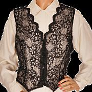Vintage Black Lace Vest Ladies Size Medium Unused