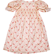 Antique Victorian Infant Baby Doll Dress Calico Floral Chintz Printed Cotton