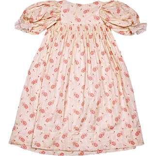 RESERVED - Antique Victorian Infant Baby Doll Dress Calico Floral Chintz Printed Cotton