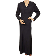Vintage 1930s Black Silk Crepe Dress with Trapunto Work Evening Gown Size L