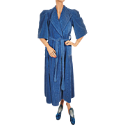 Vintage 1930s Robe Blue Chenille Dressing Gown w Matching Slippers Size M
