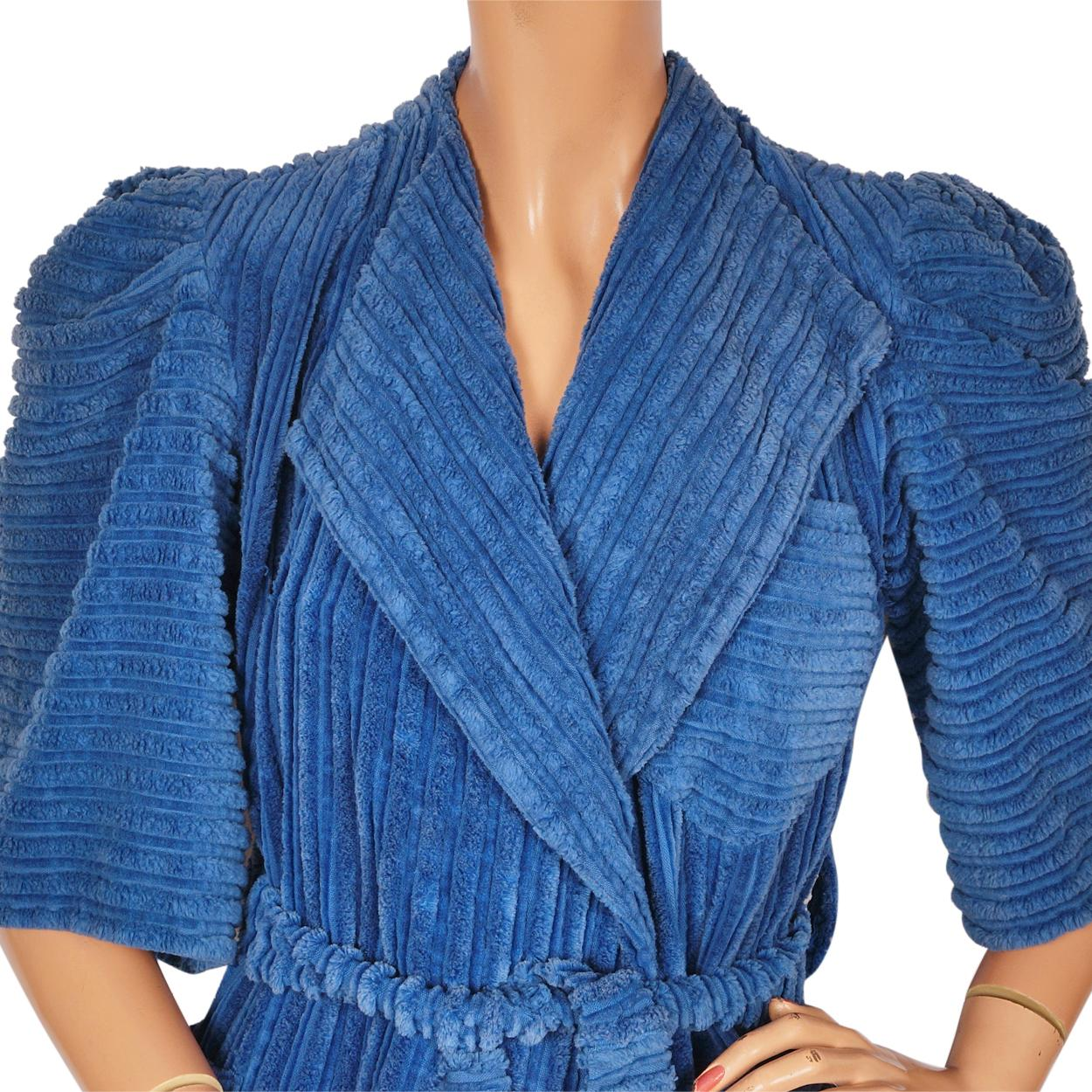 Vintage 1930s Robe Blue Chenille Dressing Gown w Matching Slippers ...