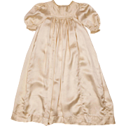Antique Silk Christening Gown - Baptism Robe -   Silk Doll Dress - Silk Baby Dress