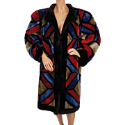 Vintage Christian Dior Shearling Fur Coat 1980s Multicoloured Patchwork Ladies M L