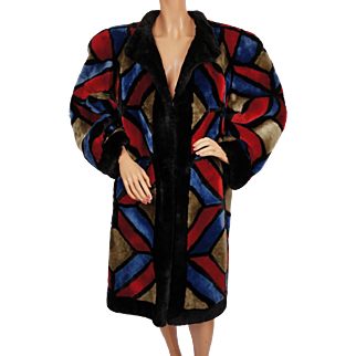 Vintage Christian Dior Shearling Fur Coat 1980s Multicoloured Patchwork Ladies M L