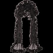 Antique Victorian Black Silk Neck Ruff Lappet Collar