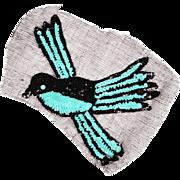 Vintage Sequin Blue Bird Applique 1930s Hand Sewn Unused NOS