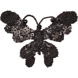Antique Victorian Mourning Butterfly Applique Black Jet Beads and Sequins