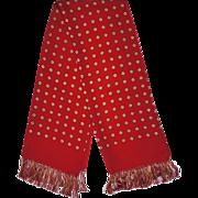 Vintage Mens Red Silk Fringed Scarf by Forsyth 1940s Fashion Foulard