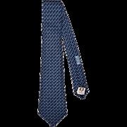 Vintage Hermes Tie Silk Twill 7589 SA Blue Chain Link Ptn Necktie Made in France