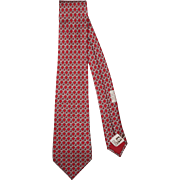 Vintage Hermes Tie Silk Twill 59 EA Magenta Red Chain Link Ptn Necktie Made in France