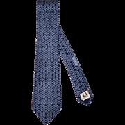 Vintage Hermes Tie Silk Twill 7787 FA Blue Necktie Made in France