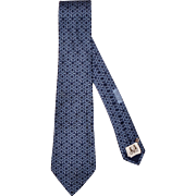 Vintage Hermes Tie Silk Twill 7787 FA Blue Necktie Made in France