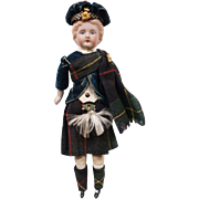 Antique Scottish Character Doll German Bisque Male in Highland Dress