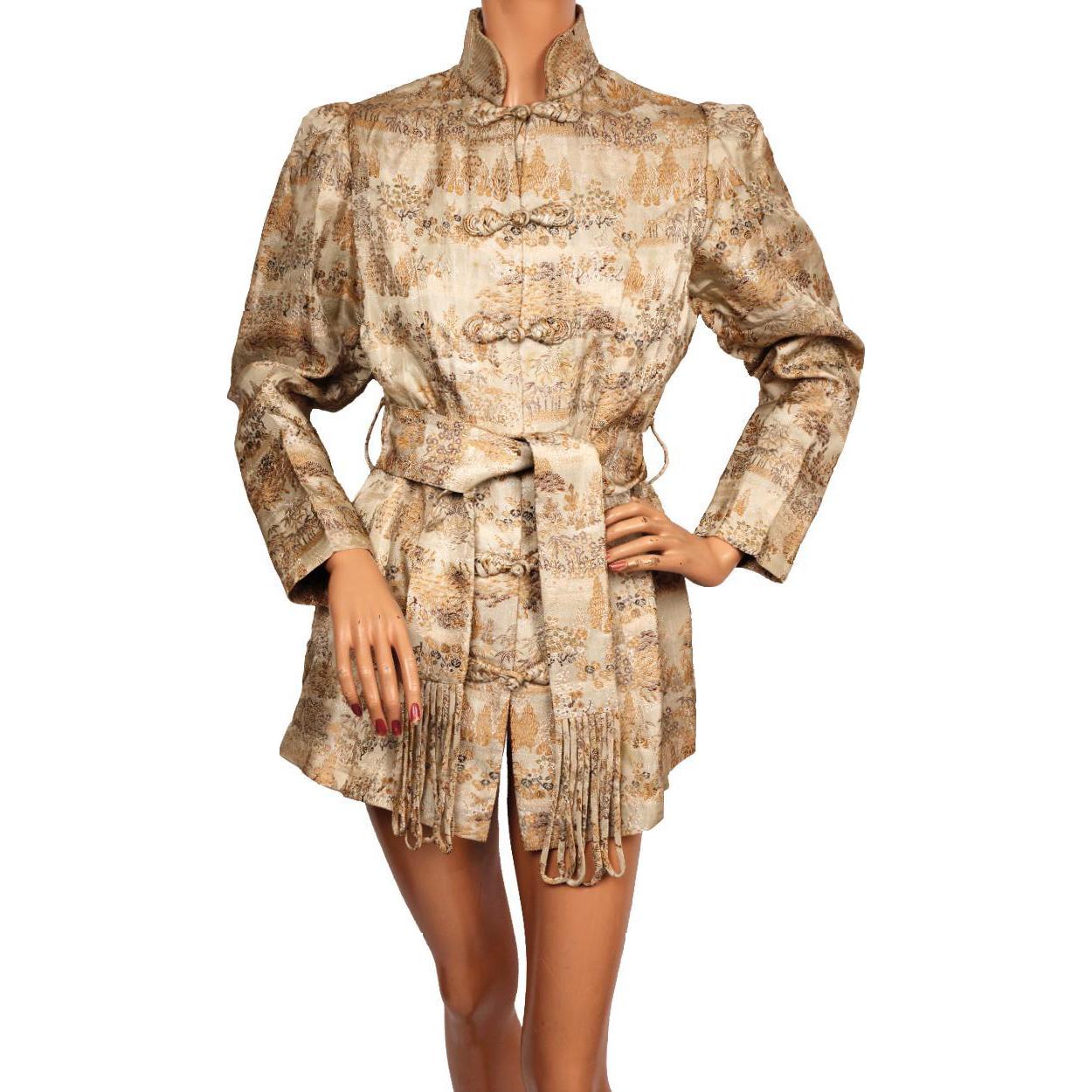 Vintage 1940s Chinese Jacket Woven Silk Brocade Pattern - Medium