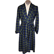 Vintage 1950s Mens Wool Challis Dressing Gown Lounging Robe Mister Ease Size M