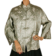 Vintage 50s Chinese Silk Brocade Lounging Jacket Metallic Gold on Green Size L