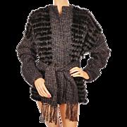 Vintage 1980s Rabbit Fur Hand Woven Knit Jacket by Marilyn Blumer Ladies M L